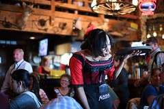 What Can I Get You? (Anthony Mark Images) Tags: juneau alaska 49thstate usa people portrait waitress saloon reddogsaloon apron alaskanbrewingcompany redandblacklacedress servingtray nikon d850 red
