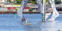 Spree SUP (lucico) Tags: 2016 berlin spree treptow germany sculpture river eu sup people rive city day deutschland europa bridge europe woman water fluss