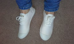 Plimsolls of the day Pair 138. All white Oki Kutsu canvas sneakers. (eurimcoplimsoll) Tags:
