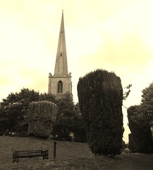 Glover's Needle (St Andrew's Spire), Worcester, Sep 2018 (allanmaciver) Tags: glver needle st andrew spire church ruin worcester england sepia mode trees gardens ventral allanmaciver vinatage look