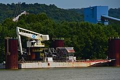 Retired Lime Hoe at Killen Power Plant (durand clark) Tags: barge limebarge killenpowerplant dpl pollution ohioriver nikond750 lime