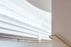 Stairway to the light (Maerten Prins) Tags: england engeland brittain london londen white library windows lines ceiling light window wall architecture britishlibrary stair stairs staircase railing bronze gold composition highkey