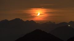 Moonset over the Alps (redfurwolf) Tags: moonset moon mountain mountains sky night nightsky nightphotography outdoors nature landscape redfurwolf sonyalpha a7rm3 bealpha sal70200f28gii herzogstand bavaria bayern germany