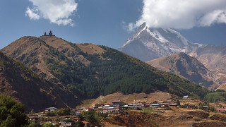Gergeti village, Trinity Church and Kazbek