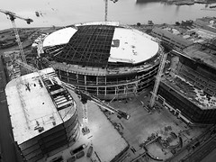 Chase Center - future home, Golden State Warriors (samayoukodomo) Tags: dronepointofview drone dronephotography aerialview aerialphotography quadcopter djimavicpro mavicpro takingthedroneouttogethigh blackandwhite bwphoto bandwphoto bw birdseyeview droneview aerial