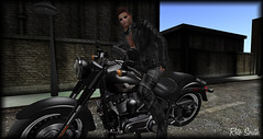 Motorcycle ride / Balade en moto / Paseo en moto (SL = Retogay) Tags: gay male signature moto black secondlife road leather bandana glasses cutfingergloves ciel trousers blusson boots military engine metal chain