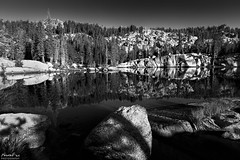 Chewing Gum Lake (NormFox) Tags: bw bnw backcountry backpacking blackandwhite blackandwhiteartistry california emigrantwilderness forest granite landscape mirror monochrome morning mountains mountainside outdoor pine relection rocks rural sierraslake sky trees water goldenhour