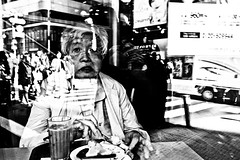 Can't u see I'm eating..... (Victor Borst) Tags: street streetphotography streetlife reallife real realpeople asia asian asians faces face candid travel travelling trip traveling tokyo urban urbanroots urbanjungle blackandwhite bw mono monotone monochrome city cityscape citylife japan japanese beautiful reflection