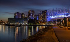 The North Shore Of False Creek (Clayton Perry Photoworks) Tags: vancouver bc canada summer explorebc explorecanada downtown city skyline buildings night lights bcplacestadium falsecreek