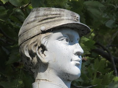 Zinc Union Army Drummer Boy Clarence Mackenzie 1031 (Brechtbug) Tags: pale blue zinc union army drummer boy statue clarence mackenzie 1848 1861 buried 1862 first brooklyn native die during civil war 12 year old for brooklyns thirteenth regiment killed by friendly fire while stationed annapolis maryland greenwood cemetery new york city 2018 nyc september 09162018