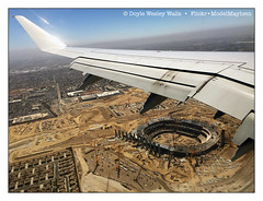 Headed into L.A. (Doyle Wesley Walls) Tags: lagniappe 7207 iphonephoto airplane california stadium wing landscape construction city losangeles