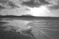 Split (sommerbe) Tags: beach sunset blackwhite waves clouds surfer reflection ocean water bay sea sand sky landscape