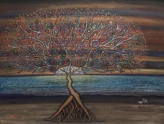 Walking On The Sand, Acrylic mix on hardboard 61 x 81 cmBy Farshad Sanaee The Apple (Farshad Sanaee The Apple) Tags: painting apple art kunst light sand sunset see tree landscape horizon imagination journey fantasy sky painter