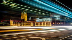 Westminster (Davey Psychotronic) Tags: london westminster parliament architecture olympus night lighttrails street