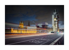 A Timely Facelift (Dave Fieldhouse Photography) Tags: appicoftheweek westminsterbridge westminster elizabethtower bigben housesofparliment london capital landmark clock time night nighttime evening dusk clouds sky lights street bus city cityscape road tower building architecture cars fujixt2 fujifilm fuji wwwdavefieldhousephotographycom longexposure scaffolding tarpaulins restoration