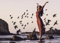 Be free (Johnidis) Tags: free freedom birds sea fly away dreamer red dress chania rocks greece crete giannis johnidis kritikos