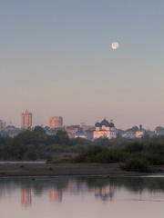 full moon (Sergey S Ponomarev - very busy) Tags: sergeysponomarev canon eos 70d hdr landscape paysage paesaggio landschaft 2018 august agosto kirov viatka wjatka vyatka russia russie russland church cathedral moon morning sunrise highdynamicrange river water mist fog bushes city citta town north nord сергейпономарев пейзаж киров вятка утро рассвет город река трава кусты луна fullmoon полнаялуна reflections riflessi отражения 3x4 ef70200mmf4lisusm