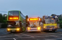 Twilight Trio (Better Living Through Chemistry37) Tags: p701bta v874hby 283urb 701 stagecoach stagecoachdevon easyrider volvo b6le53 alexander alx200 busesofsomerset first firstgroup chesterfield rhe969x ank320x plaxtonpresident dennistrident leyland leylandtiger plaxton plaxtonesupreme plaxtonsupremevl lowlight nightphotography busessouthwest transport transportation vehicles twilight torbaytwilight