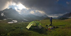 Setting up Camp (delphinusorca) Tags: frenchalpes alpes gr5 france2018 france parcnationaldelavanoise coldupalet