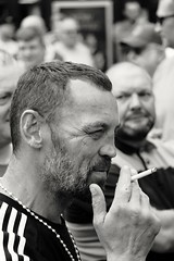Tough guy. (ianmiller6771) Tags: toughguy streetphotographyuk ukstreetphotography street streetphotography worcesteruk blackandwhite whiteblack bw fuji fujixt1 candid monochrome rightwingpolitics threat