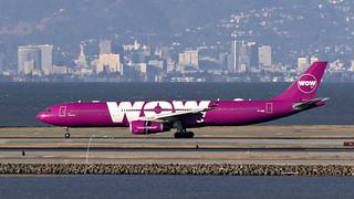085A4199 Wow A330-343 TF-WOW arriving KSFO RWY 28R.