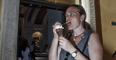 Scary ice cream!! (Baz 120) Tags: candid candidstreet candidportrait city candidface candidphotography contrast colour street streetphoto streetphotography streetcandid streetportrait strangers sony a7 rome roma europe women urban life primelens portrait people pentax20mm28 italy italia girl icecream grittystreetphotography faces flashstreetphotography decisivemoment