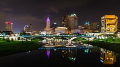 Columbus on the River (sniggie) Tags: columbus niagarafalls ohio route62 sciotoriver usroute62 us62 citylights cityscape downtowncolumbus nightphotography reflection skyscraper