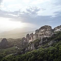 The end of the day at Meteora 2 (Nobusuma) Tags: hasselblad hasselblad500cm zeissplanar 80mm f28 fuji fujiproh160 film analog mediumformat greece kalampaka meteora sundown hiking landscape