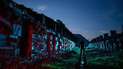 Valley of Shadows.  242.365 (FadeToBlackLP) Tags: lightpainting lightart silhouette form wales valleys slate longexposure dinorwic quarry abandonedworld abandoned derelict stars sky night
