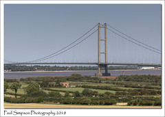 Farmhouse and Bridge (Paul Simpson Photography) Tags: farmhouse farm fields riverhumber humberbridge paulsimpsonphotography bridge road water roadcrossing trees largebridge uk england sonya77 imagesof imageof photoof photosof humberside photosofthehumberbridge