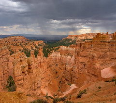 Desert rain (Hendricks_NY) Tags: 2018 brycecanyon utah unitedstates nikond7200 panoramic vacation autostitch canyon sky cliff mountain landscape rock southwest desert nationalpark sand sandstone clouds dark light hoodoo climbing trail nature trees editingcameratechniques