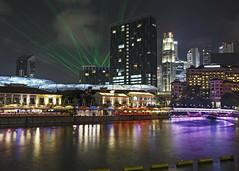 Riverwalk Laser Show (fantommst) Tags: lisaridings fantommst singapore singapur night clarke quay bridge footpath path merchant road lights neon colourful colorful colours long exposure riverfront riverside point river park hotel reflection laser show