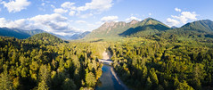 Connecting (John Westrock) Tags: nature panoramic pano mountains landscape trees river sky bluesky djimavicpro2 dronephotography washingtonstate pacificnorthwest aerial northbend washington unitedstates us
