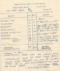 School Report RIDGE ROAD Feb'59 (TietjenUK) Tags: school report ridgeroad suttonnorthcountyprimary 1959 teacher mrsgreen mrhobby