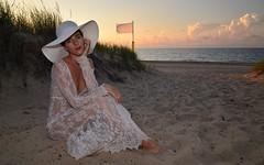 Evening Shade (Ctuna8162) Tags: whitney hat beach sand breeze indiana lakemichigan clouds lake water dress lace white