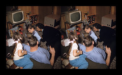 Family time in the den - Memphis, Tennessee - January, 1958 (ah_pook) Tags: stereorealist 3d parallel memphistn games toys familyroom 1958 tennessee family