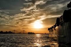 Sunset on the delta of Mekong (rvjak) Tags: mytho vietnam d750 nikon sky water delta sunset soleil sun boat bateau asia southeast asie sudest travel yellow jaune orange bridge pont clould nuage