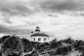 Coquille River Light BW Oregon