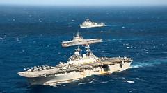 Steaming Ships 4, variant (sjrankin) Tags: navy usswasp lcac marines sailors usswasplhd1 pacificocean japan jpn 16september2018 edited usn unitedstatesnavy 180826nnm8060731 fleet jsosumi ussashland lsd48 passex lst4001