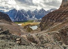 View of Larch Valley and the Ten Peaks from above Sentinel Pass (sbuckinghamnj) Tags: canada banff banffnationalpark landscape mountains