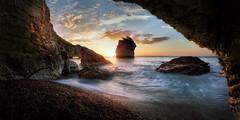 Bay of Faraglioni at Sunrise (Massetti Fabrizio) Tags: sunrise sun sunlight seascape sea rocks landscape landscapes light puglia phaseone schneider iq180 italia italy gargano clouds