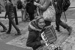 Play a tune for Me_G5A0273 (ronniefleming@btinternet.com) Tags: portrait streetportraiture candid edinburgh thefringe blackandwhite rawstreetphotography ph31fy ronniefleming streetvendor beggar brighteyes helpme accordianplayer royalmile passersby people bw portraiture street