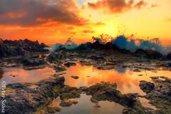 Reflect (Peter Szasz) Tags: maui hawaii hdr kihei rocks sea summer sunset sun sky stones reflection ocean orange water wave rock rocky clouds colourful reflect pool nature tropical scenery landscape light sunny