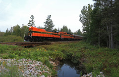 Bush road (GLC 392) Tags: els escanaba lake superior railroad railway train customers special business passenger baldwin rs12 emd gp382 300 400 river bridge wood woods water sky north country life upper michigan sagola bush road rd west branch sturgeon