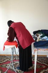 Slave maid on work (Warm Clothes Fetish) Tags: girl hot warm winter sweat maid apron boots fleece fur coat hat torture niqab hijab