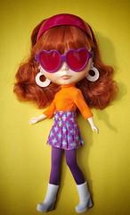 Good thing Sarah has her awesome purple shades. It's bright out! Sarahshades (Painters Life) Tags: 70s 60s mod purple orange takara doll blythe sarahshades