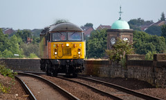 Day two of Colas Route Learning on the Robin Hood line sees Class 56 no 56078 at Mansfield Station on 23-08-2018 (kevaruka) Tags: newark north gate diamond crossing flat nottinghamshire summer 2018 aug august railfreight railway trains train freight dbc db schenker gbrf class 60 66 tug shed 60066 drax telephoto flickr thephotographyblog front page yellow blue grey green colour colours color colors canon eos 5d mk3 ef100400 f4556l 5d3 5diii countryside outdoors trees rail locomotive composition photography clouds cloudy day cloud railroad tree sky 66117 6m00 windshield mansfield class56 grid colasrailfreight 56078