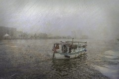 Departure (delmarvajim) Tags: digitalart digitalprocessing digitaleffects digitalpainting fineart sailboat river cityscene water architecture texture drama harbor sky
