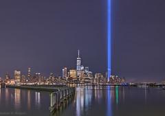 9.11.17 (rodgersam) Tags: 911 tributelights nyc manhattan lowermanhattan newyorkcity newyork newjersey lights architecture skyline skyscrapers water night hudsonriver urbanlandscape urban