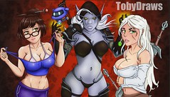 New background design of my drawings (Toby0177) Tags: witcher sylvanaswindrunner overwatch blizzard tekening art gameart girl portret portriat background illustration drawing draw anime